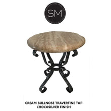 Patio Furniture -Foyer Table With Natural Travertine Stone Top- Iron Metal Base-Mexports By Susana Molina -Mexports® Inc by Susana Molina