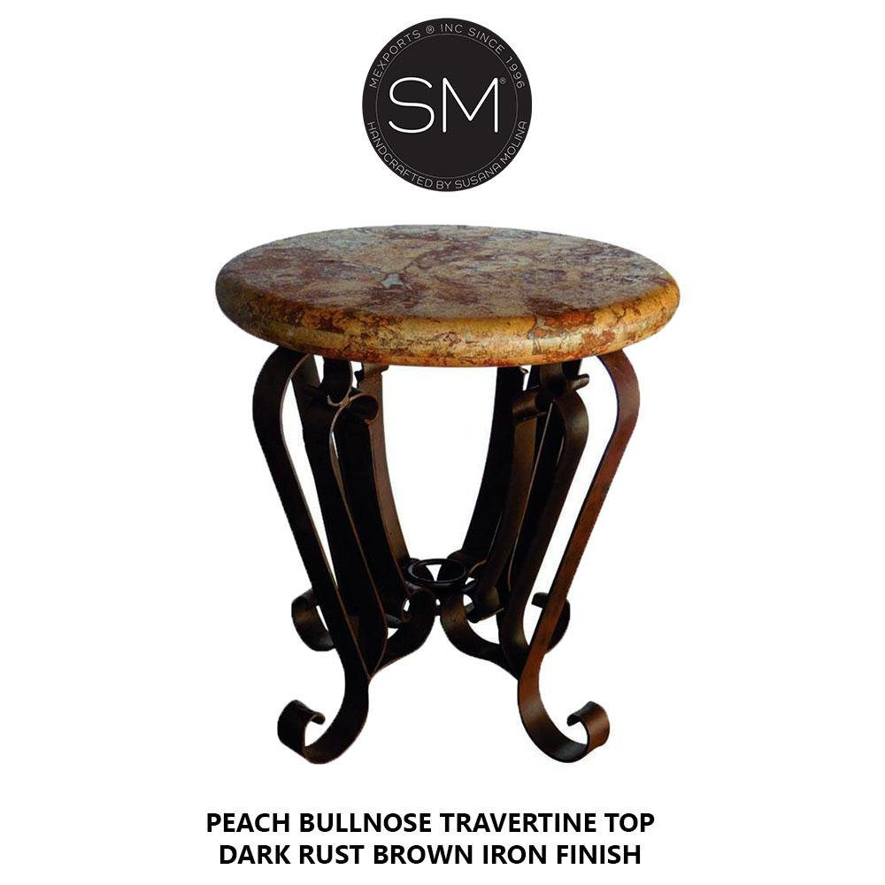 Patio Furniture- Natural Travertine Stone Accent Table .Pedestal iron base-Ocasional tables, side tables & foyer tables-Mexports By Susana Molina -24