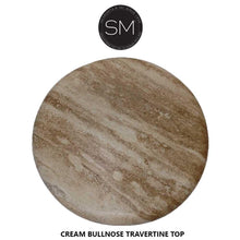 "Patio Furniture- Natural Travertine Stone Accent Table .Pedestal iron base-Ocasional tables, side tables & foyer tables-Mexports By Susana Molina -24""-Peach Chiseled-Chocolate Espresso-Mexports® Inc by Susana Molina"