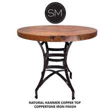 "Pub Table Bar Height -Hammer Copper Top-Kitchen & tall bar tables-Mexports By Susana Molina-38""Rd-Natural Copper-Dark Rust Brown-Mexports® Inc by Susana Molina"