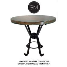 Pub Table Table Vintage Furniture, Luxurious Natural Hammer Copper made with Handcrafted Wrought Iron Legs - Mexports® Inc by Susana Molina