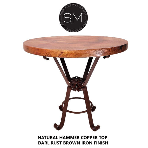 Pub Table Vintage Furniture, Natural Hammer Copper top-Mexports By Susana Molina -Mexports® Inc by Susana Molina