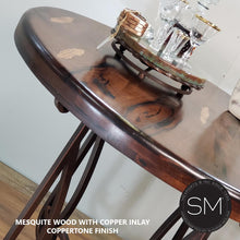 Reclaimed Mesquite Wood Bar Table with Luxurious Handcrafted Wrought Iron Pedestal - Mexports® Inc by Susana Molina