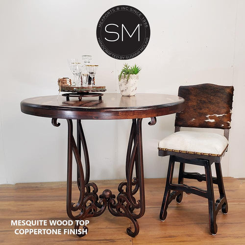 Reclaimed Mesquite Wood Bar Table with Luxurious Handcrafted Pedestal-Bar Table-Mexports By Susana Molina-38