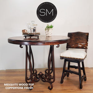 "Reclaimed Mesquite Wood Bar Table with Luxurious Handcrafted Pedestal-Bar Table-Mexports By Susana Molina-38""Rd Bullnose-Turquoise-Dark Rust Brown-Mexports® Inc by Susana Molina"
