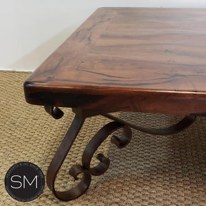 Reclaimed Solid Square Mesquite Wood Coffee table | vintage wrought iron - Mexports® Inc by Susana Molina