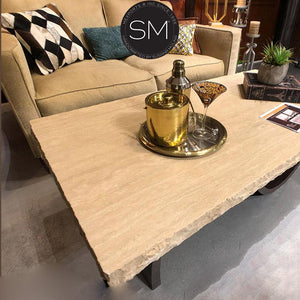 Rectangular Rustic Coffee Tables Cream Travertine Top-Mexports By Susana Molina-Mexports® Inc by Susana Molina