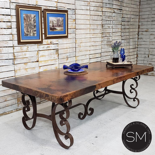 Furniture made with Mexican Hammer Copper - Rectangular Dining Table