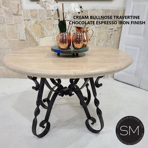 "Round Dining Table | Travertine | Wrought Iron Base-Round Dining table-Mexports By Susana Molina-48""-Peach Chiseled-Chocolate Espresso-Mexports® Inc by Susana Molina"