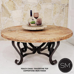 Round Natural Travertine Coffee Table - Mexports® Inc by Susana Molina