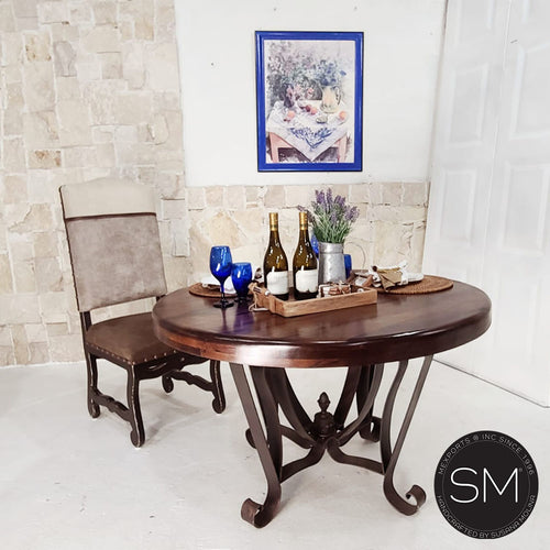 High End Solid Mesquite Wood  Round Dining Table + Iron base