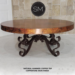 Rustic Coffee Table| Round| Hammered Copper, Wrought Iron Base - Mexports® Inc by Susana Molina