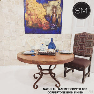 "Rustic Dining Table Newfangled Round Natural Hammer Copper Top Iron Legs-Round Dining table-Mexports By Susana Molina -48""Rd-Natural Copper-Dark Rust Brown-Mexports® Inc by Susana Molina"