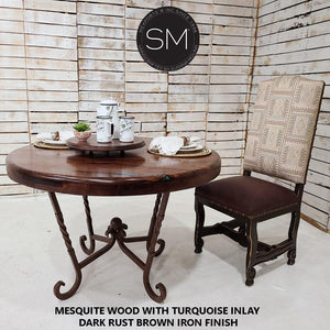 "Rustic Look Re defined : Collection Mesquite Wood Round Dining Table-Round Dining table-Mexports By Susana Molina-48""Rd Bullnose-Turquoise Inlay-Dark Rust Brown-Mexports® Inc by Susana Molina"