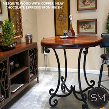 "Rustic Reclaimed Mesquite Wood from Texas Pub Table Hancrafted Iron Legs-Bar Table-Mexports By Susana Molina -38""Rd-Dark Rust Brown-Bullnose-Mexports® Inc by Susana Molina"