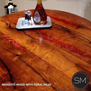 Rustic Reclaimed Mesquite Wood from Texas Pub Table with Coral Inlay and Hancrafted Iron Legs - Mexports® Inc by Susana Molina