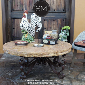 Rustic Travertine Coffee Table, Wrought Iron Base-Mexports By Susana Molina -Mexports® Inc by Susana Molina