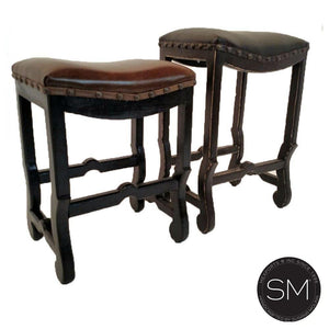 Saddle Brown Cowhide Barstool - Stools Brown Leather Saddle Style- Wooden - Mexports® Inc by Susana Molina