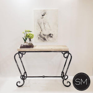 "Small Console Table with a premier quality Natural Travertine stone top-Console tables - Entryway tables-Mexports By Susana Molina-44"" x 14"" Beveled-Cream Travertine-Dark Rust Brown-Mexports® Inc by Susana Molina"