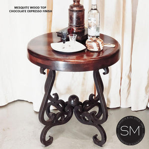 Small Ocassional Table-Mesquite Wood, Wrought Iron Base - Mexports® Inc by Susana Molina