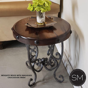 Ranch Elegant Small Occasional Table Bonzer Mesquite Top w/ Rustic Legs-Mexports By Susana Molina-Mexports® Inc by Susana Molina