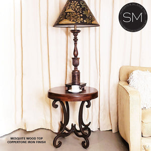 Modern Mesquite Wood w/ Wrought Iron Base |  Small Occasional Table
