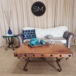 Tuscan Style Hammer Copper Square Coffee Table for your Living room