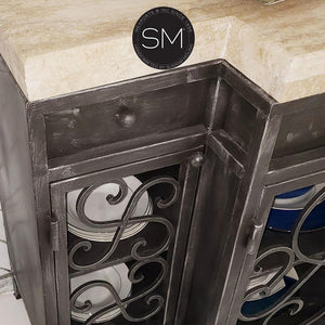 "Luxury Travertine Buffet Cabinets-Buffet cabinet with storage-Mexports By Susana Molina -59""x19""-Peach Chiseled-Vintage Silver-Mexports® Inc by Susana Molina"