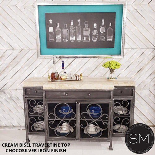 Travertine Buffet Cabinet Model 1235 B - Mexports® Inc by Susana Molina