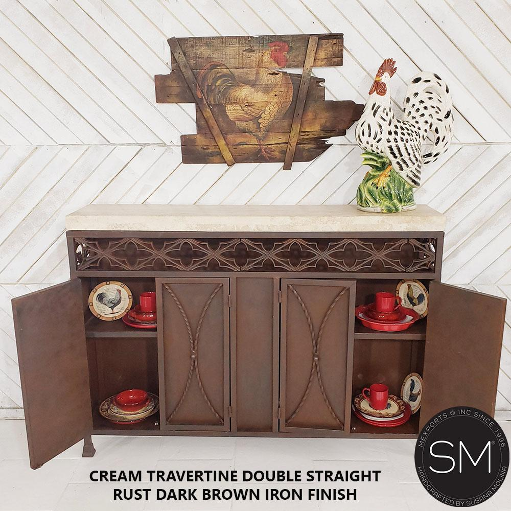 Original Buffet cabinet with a tuscan flirt & Travertine marble top-Buffet cabinet with storage-Mexports By Susana Molina -59