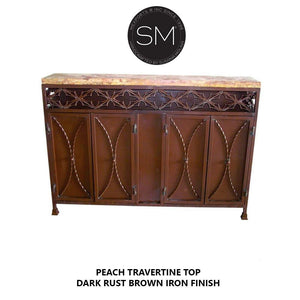 "Original Buffet cabinet with a tuscan flirt & Travertine marble top-Buffet cabinet with storage-Mexports By Susana Molina -59""X12""-Peach Chiseled-Vintage Silver-Mexports® Inc by Susana Molina"