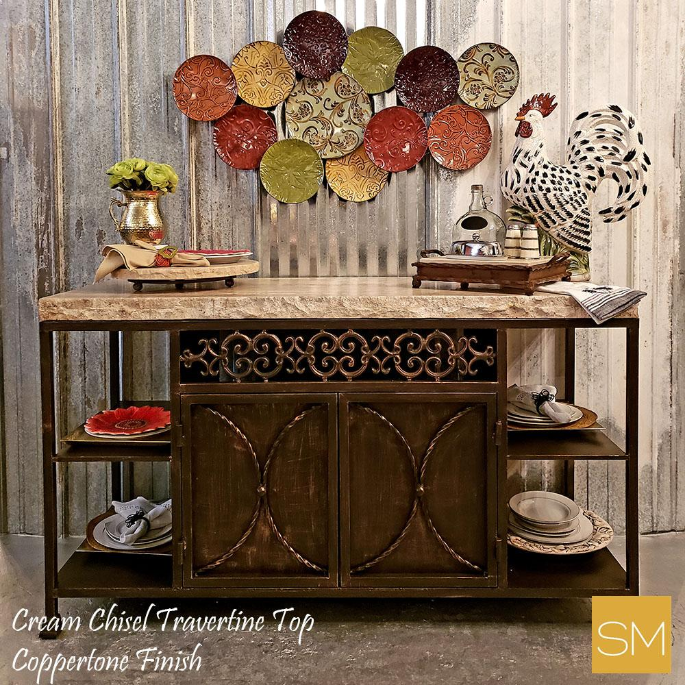 Travertine Buffet Cabinet with storage - Rustic style re defined-Mexports By Susana Molina -Mexports® Inc by Susana Molina
