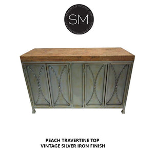 "Chic Werstern Buffet Cabinet | Natural Travertine stone top-Buffet cabinet-Mexports By Susana Molina -Dark Rust Brown-59"" x 19""-Double Straight-Mexports® Inc by Susana Molina"