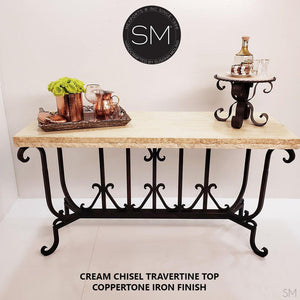 "Luxury Console Entryway Table Spiffy w/ Rectangular Cream Travertine Top-Console tables - Entryway tables-Mexports By Susana Molina -59"" x 19"" Beveled-Cream Travetine-Dark Rust Brown-Mexports® Inc by Susana Molina"