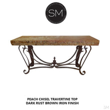 "Luxury Console Table - One of a Kind Travertine Stone Entryway Table-Console tables- Entryway tables-Mexports By Susana Molina -59"" x 19"" Beveled-Cream Travertine-Dark Rust Brown-Mexports® Inc by Susana Molina"