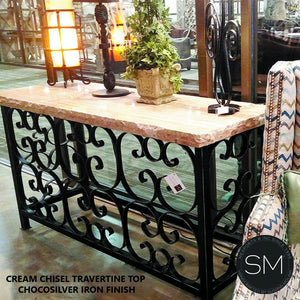 "Console table for Outdoor with Travertine stone top + Craftsmanship Iron work-Console tables - Entryway tables-Mexports By Susana Molina -59"" x 19"" Beveled-Cream Travertine-Dark Rust Brown-Mexports® Inc by Susana Molina"