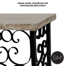 Console table for Outdoor with Travertine stone top + Craftsmanship Iron work-Mexports By Susana Molina -Mexports® Inc by Susana Molina