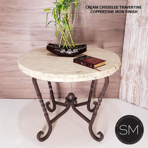 Genuine Travertine stone Large foyer - Occasional Table-Mexports By Susana Molina -Mexports® Inc by Susana Molina