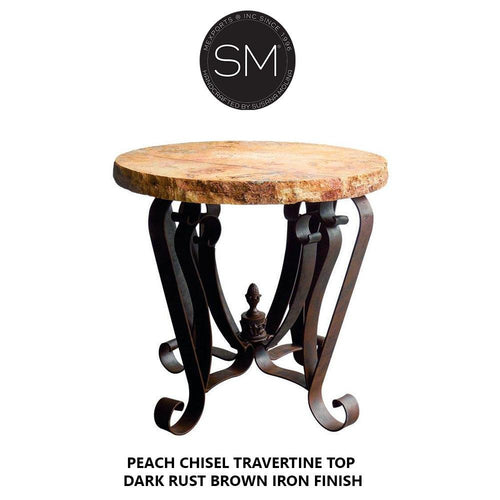 Hi-End Patio Occasional Table Catchy Cream Traventine Top w/ Sleek Base-Mexports By Susana Molina-Mexports® Inc by Susana Molina