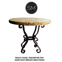 Western Chic Large Occassional Table Wizard Traventine Top w/ Rustic Base-Mexports By Susana Molina -Mexports® Inc by Susana Molina