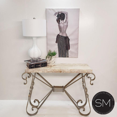 Travertine Natural stone Elegant Narrow Console entryway table - Mexports® Inc by Susana Molina