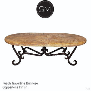 "Oval rustic coffee tables you""ll love- Travertine Oval Coffee table-Oval coffee table-Mexports By Susana Molina -Peach Travertine-Dark Rust Brown-Mexports® Inc by Susana Molina"