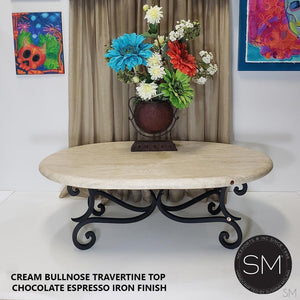 Travertine Oval Table - Antique & Designer Coffee Tables-Mexports By Susana Molina -Mexports® Inc by Susana Molina