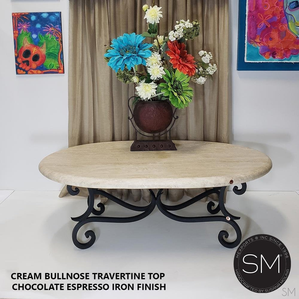 Travertine Oval Coffee Table Model 1215 AA - Mexports® Inc by Susana Molina