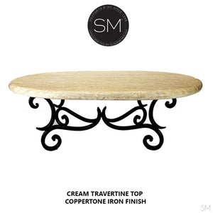 Travertine Oval Coffee Table -Antique and designer travertine coffee tables-RUSTIC OVAL COFFEE TABLE-Mexports By Susana Molina -Peach Travertine-Dark Rust Brown-Mexports® Inc by Susana Molina