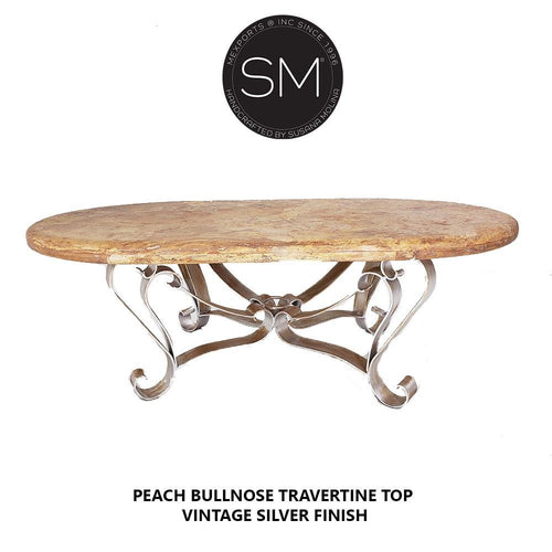 Outdoor Mexican Travertine Marble Oval coffee table - Handcrafted-Mexports By Susana Molina-Mexports® Inc by Susana Molina