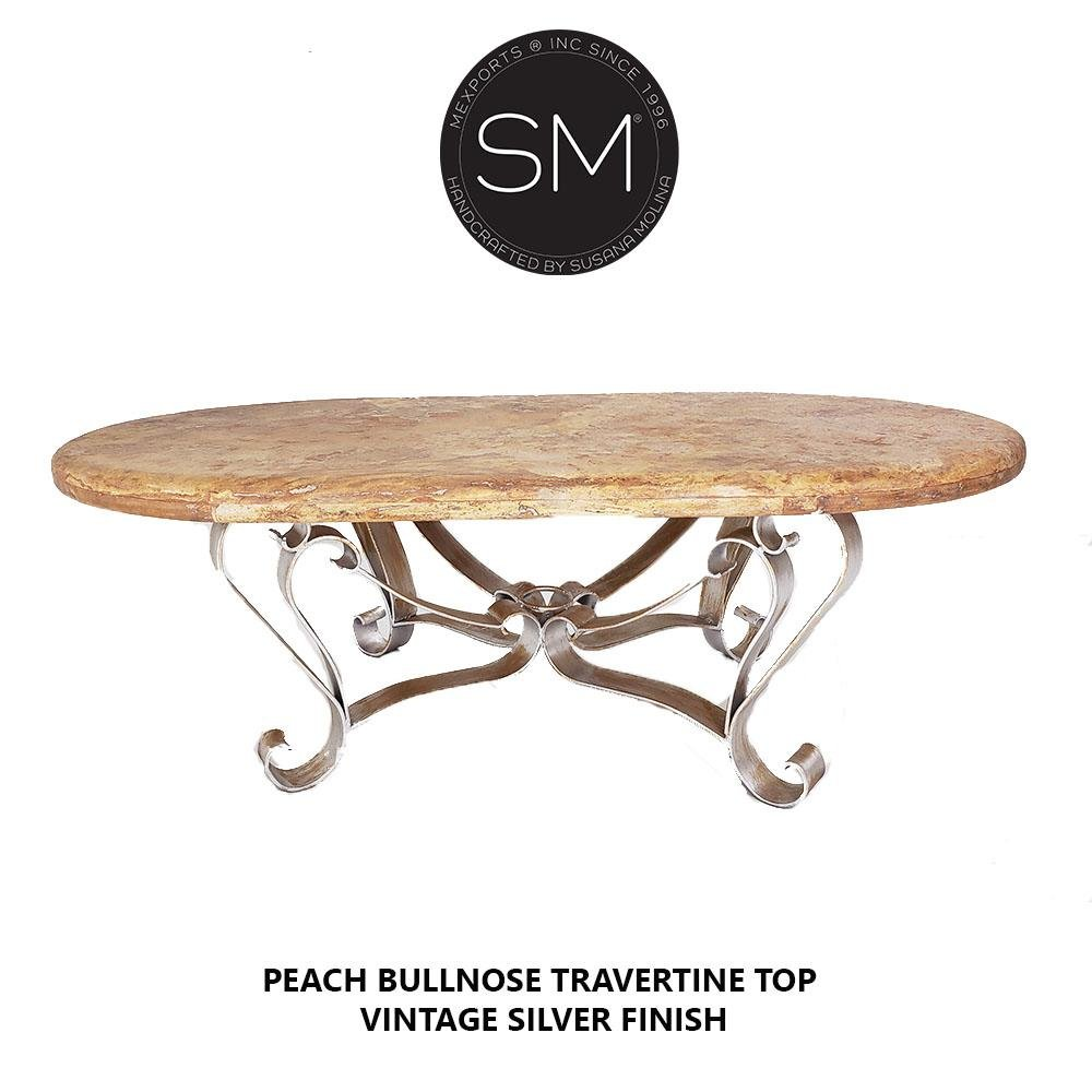 Outdoor Mexican Travertine Marble Oval coffee table -Handcrafted-Travertine coffee tables-Mexports By Susana Molina-Peach Travertine-Dark Rust Brown-Mexports® Inc by Susana Molina
