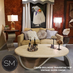 Designer Oval Rustic Coffee Tables Chic Intricate Cream Travertine Top-Mexports By Susana Molina-Mexports® Inc by Susana Molina