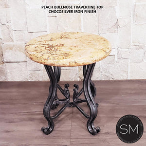 Travertine Patio Furniture- Side Occasional Table Handforged Iron Legs-Mexports By Susana Molina-Mexports® Inc by Susana Molina