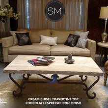 "Twist Wrought Iron Coffee Table Exotic Rectangular Cream Travertine Top-Rectangular Coffee table-Mexports By Susana Molina -60""X32""-Peach Chiseled-Chocolate Espresso-Mexports® Inc by Susana Molina"